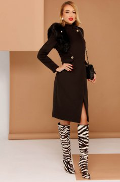 PrettyGirl black elegant coat from non elastic fabric with inside lining with faux fur details