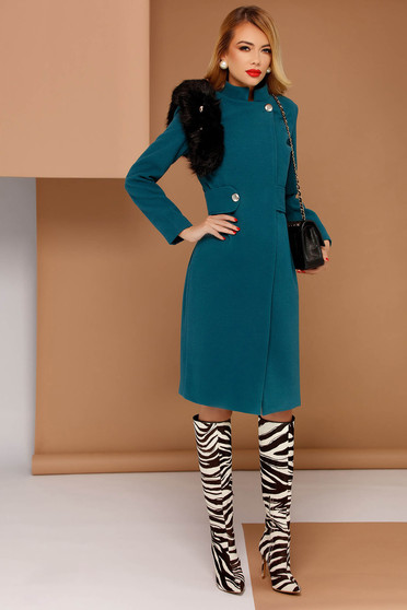 PrettyGirl turquoise elegant coat from non elastic fabric with inside lining with faux fur details