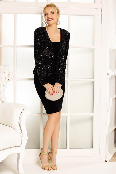 Fofy black elegant jacket with sequins arched cut with inside lining