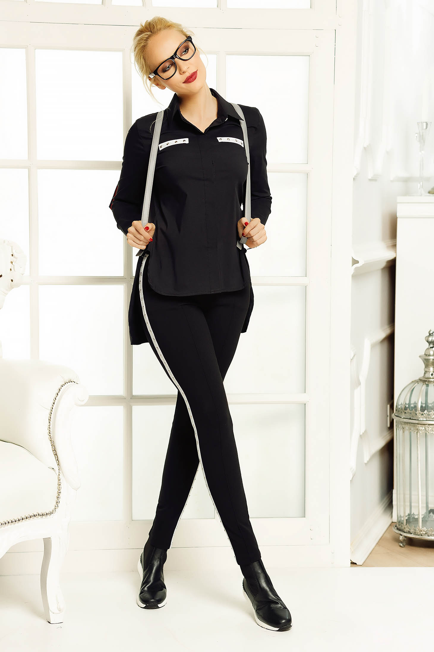 Fofy black casual flared women`s shirt asymmetrical slightly elastic cotton with pointed collar
