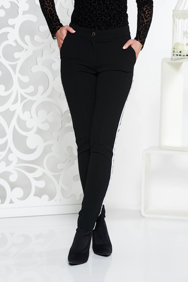 Fofy black casual conical trousers with medium waist slightly elastic fabric