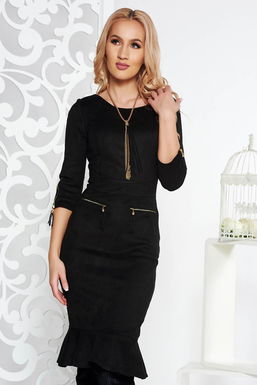 Fofy black daily midi dress from velvet fabric with tented cut zipper accessory
