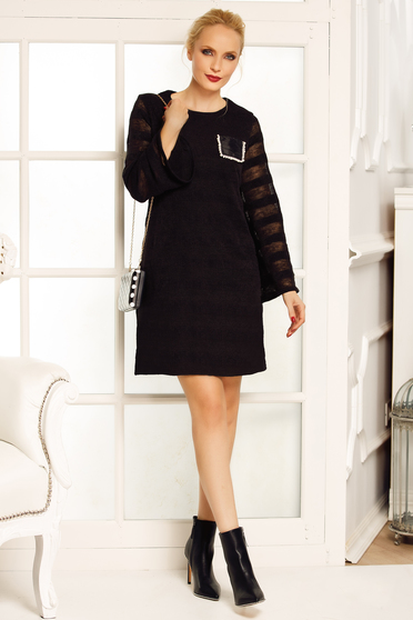 Fofy black elegant a-line dress knitted fabric with large sleeves