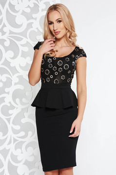 Fofy black occasional pencil frilled dress slightly elastic fabric with floral details