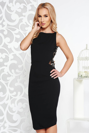 Fofy black occasional pencil dress slightly elastic fabric with floral details