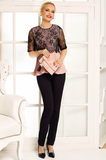 Fofy rosa elegant flared women`s blouse from veil folded up lace overlay
