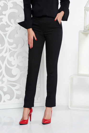 Fofy black office trousers conical with medium waist slightly elastic fabric with pockets