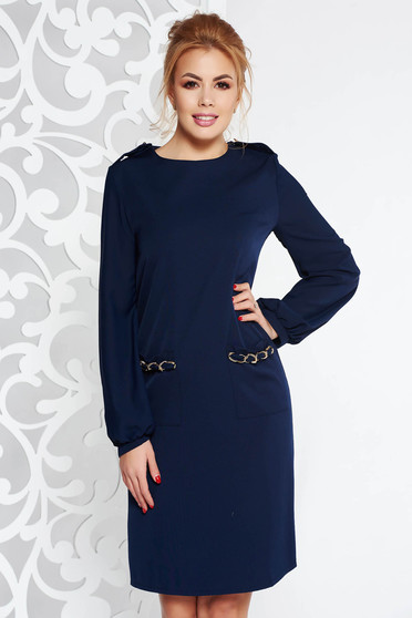Fofy darkblue elegant a-line dress with veil sleeves metallic chain accessory