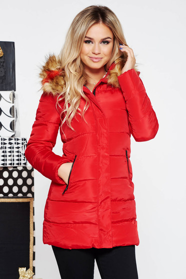 Red jacket from slicker with inside lining with faux fur accessory