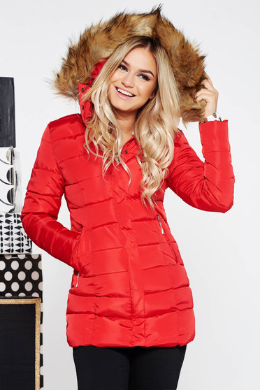 Red casual jacket from slicker long sleeved with faux fur accessory