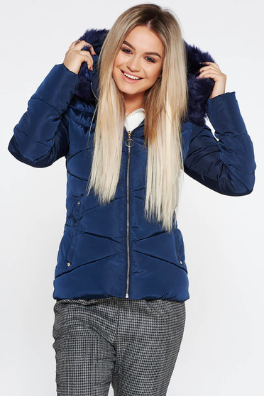 Darkblue casual from slicker jacket with inside lining with faux fur accessory