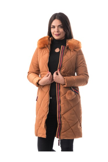 Bricky jacket casual from slicker with inside lining with faux fur accessory