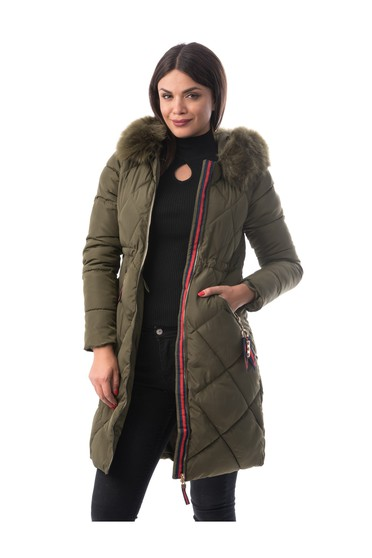Khaki casual from slicker jacket with inside lining with faux fur accessory