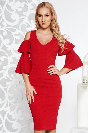Red occasional pencil dress from elastic fabric with lame thread with inside lining both shoulders cut out