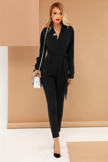 PrettyGirl black occasional jumpsuit with v-neckline accessorized with tied waistband soft fabric