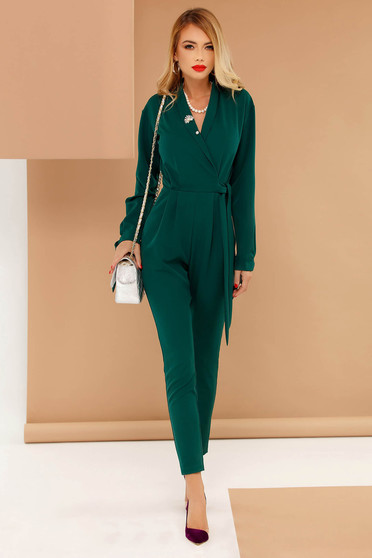 PrettyGirl green occasional jumpsuit with v-neckline accessorized with tied waistband soft fabric