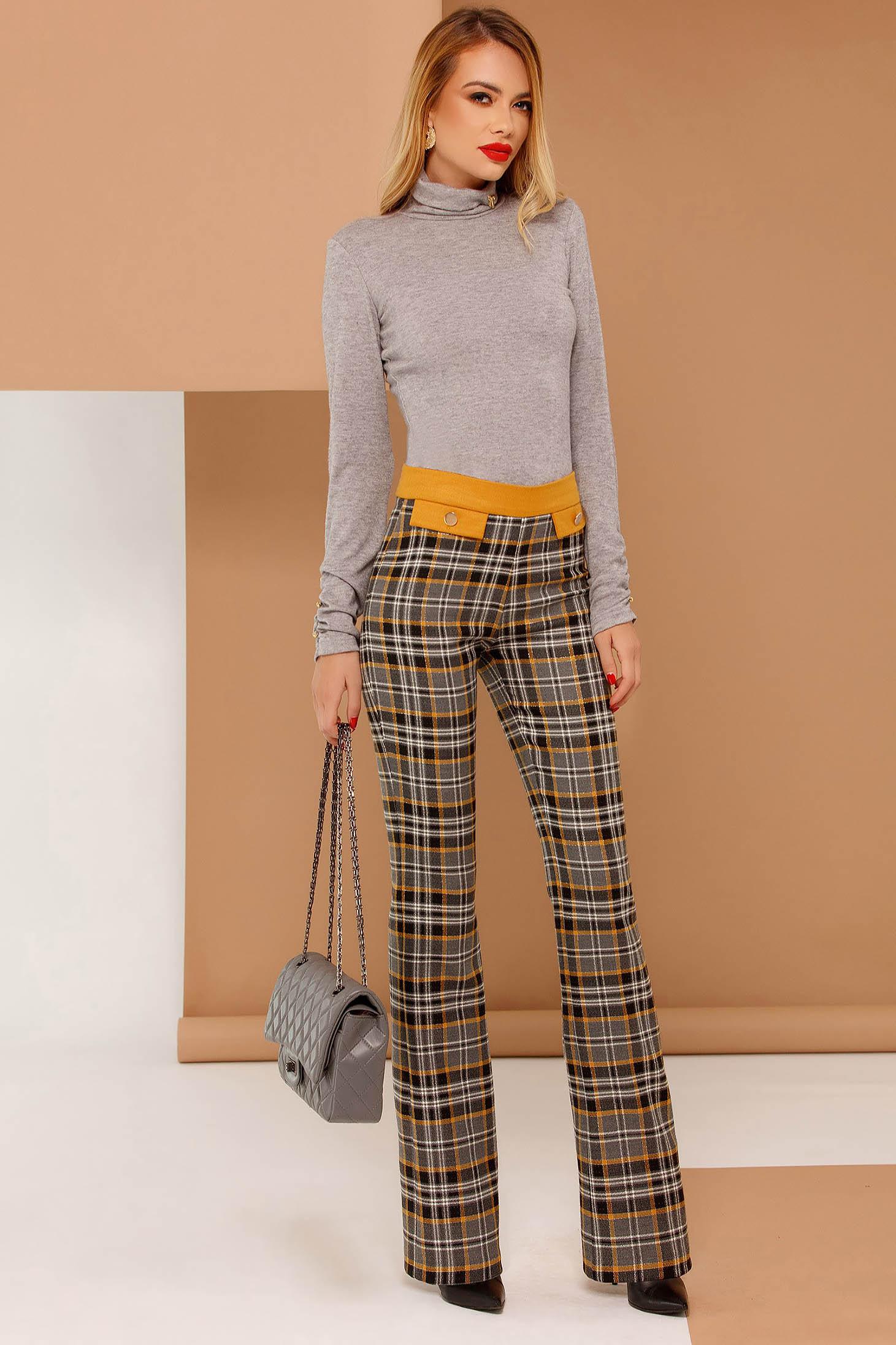 Pantaloni PrettyGirl gri office evazati din stofa usor elastica cu talie medie