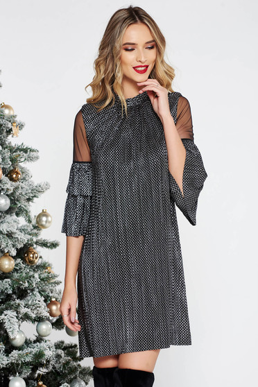 Silver occasional flared dress shimmery metallic fabric with inside lining with ruffled sleeves