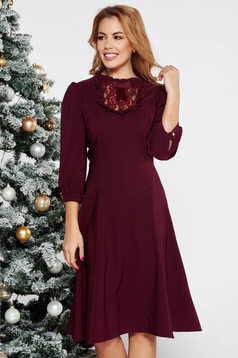 LaDonna purple elegant cloche dress slightly elastic fabric with lace details with puffed sleeves