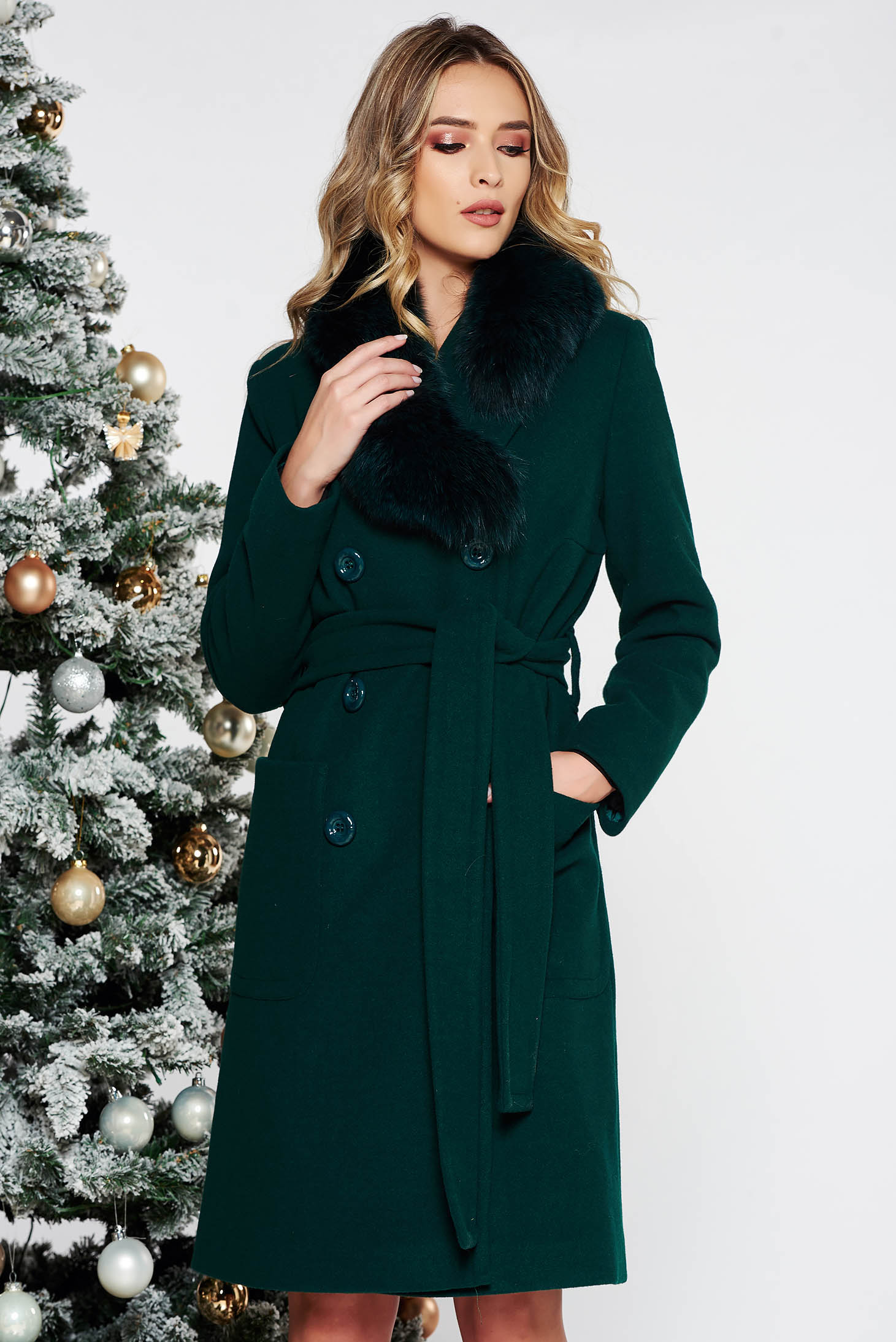 LaDonna green elegant straight wool coat fur collar