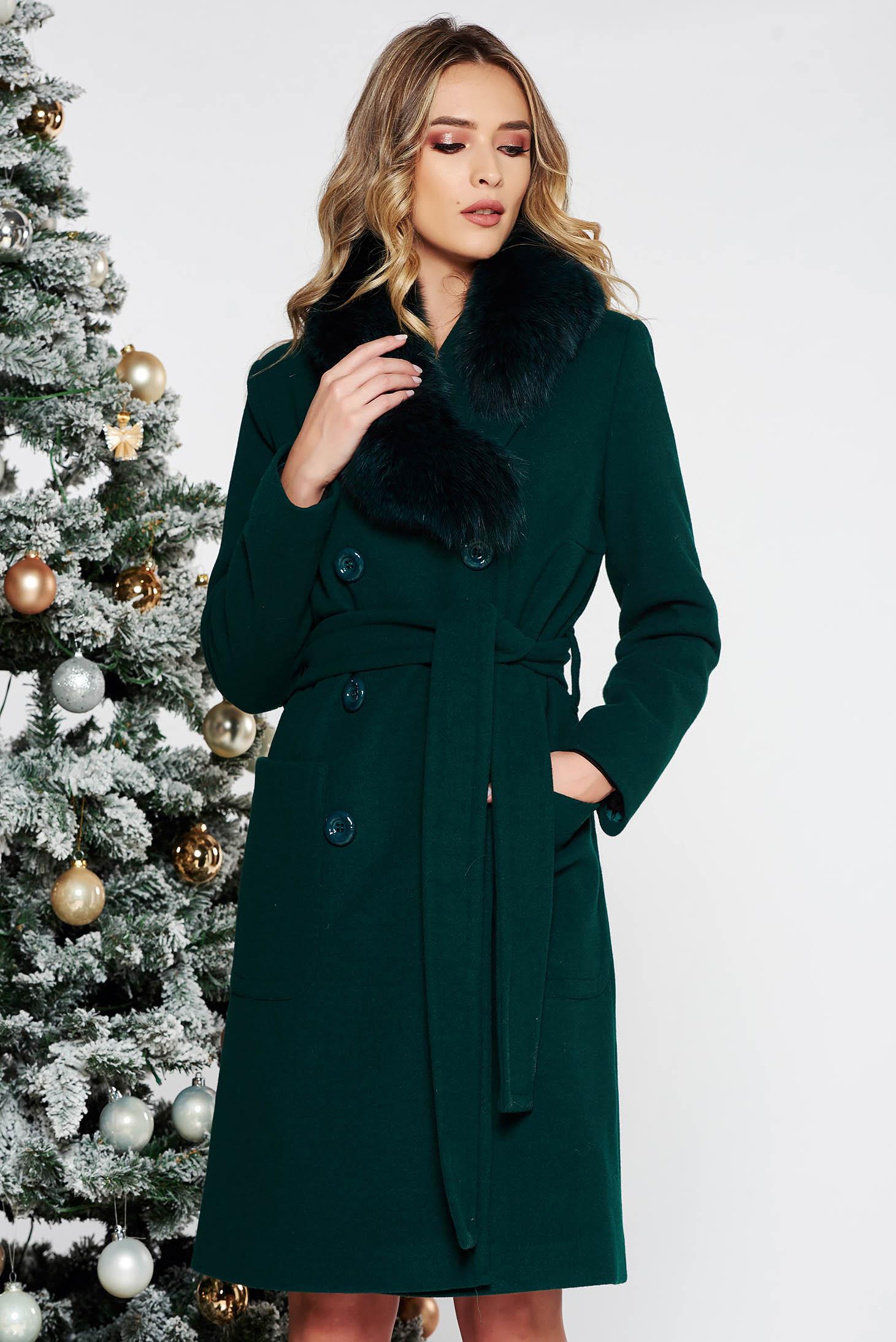 Palton LaDonna verde elegant cu un croi drept din lana cu guler din blana naturala