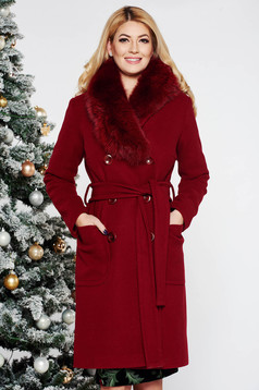 LaDonna burgundy elegant straight wool coat fur collar