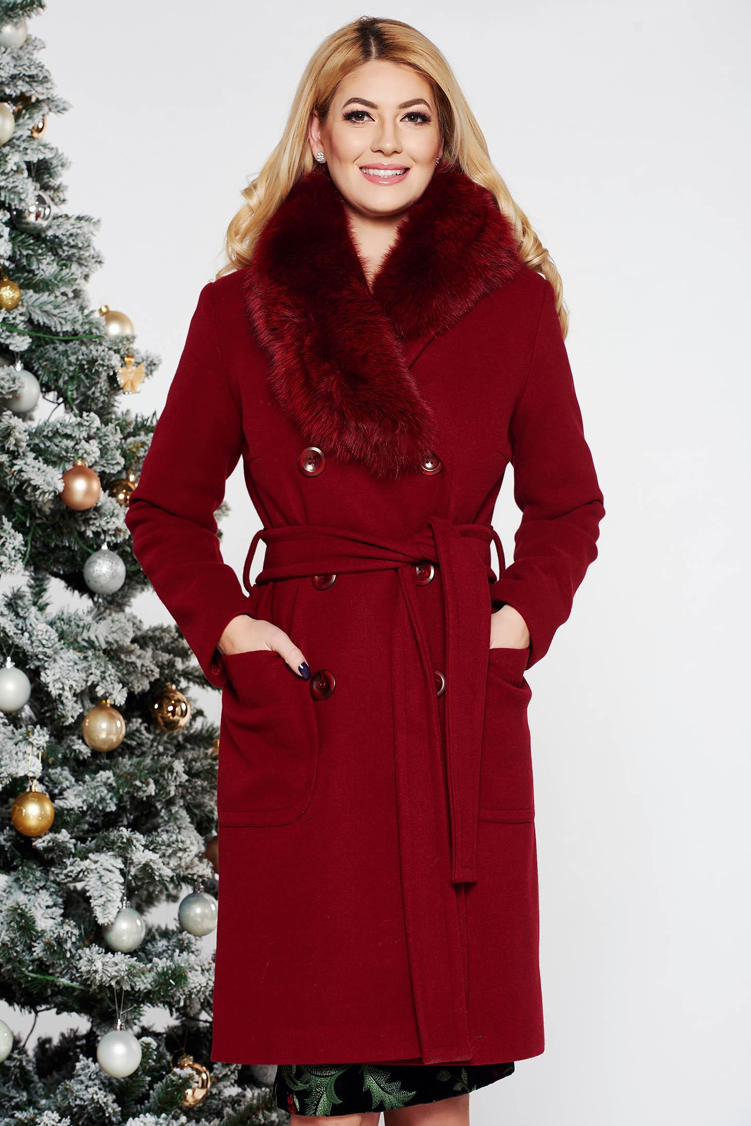 LaDonna burgundy elegant straight wool coat fur collar