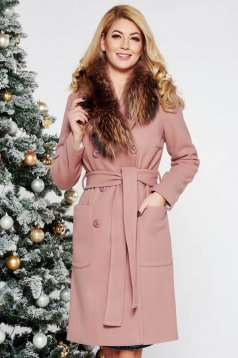 LaDonna rosa elegant straight wool coat fur collar