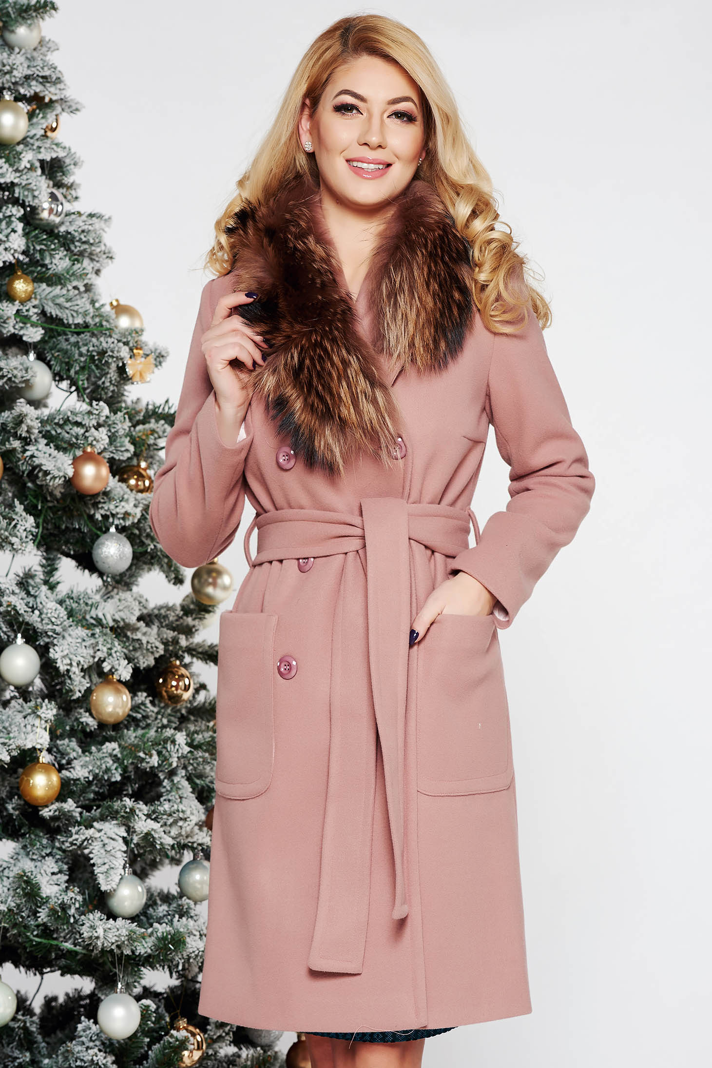 LaDonna rosa elegant straight wool coat fur collar