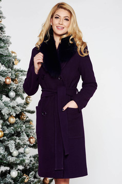 LaDonna purple elegant straight wool coat fur collar