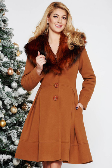 LaDonna brown elegant cloche coat from wool with detachable faux fur insertions