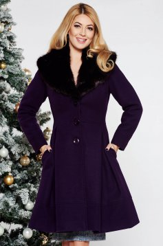 LaDonna purple elegant cloche coat from wool with detachable faux fur insertions