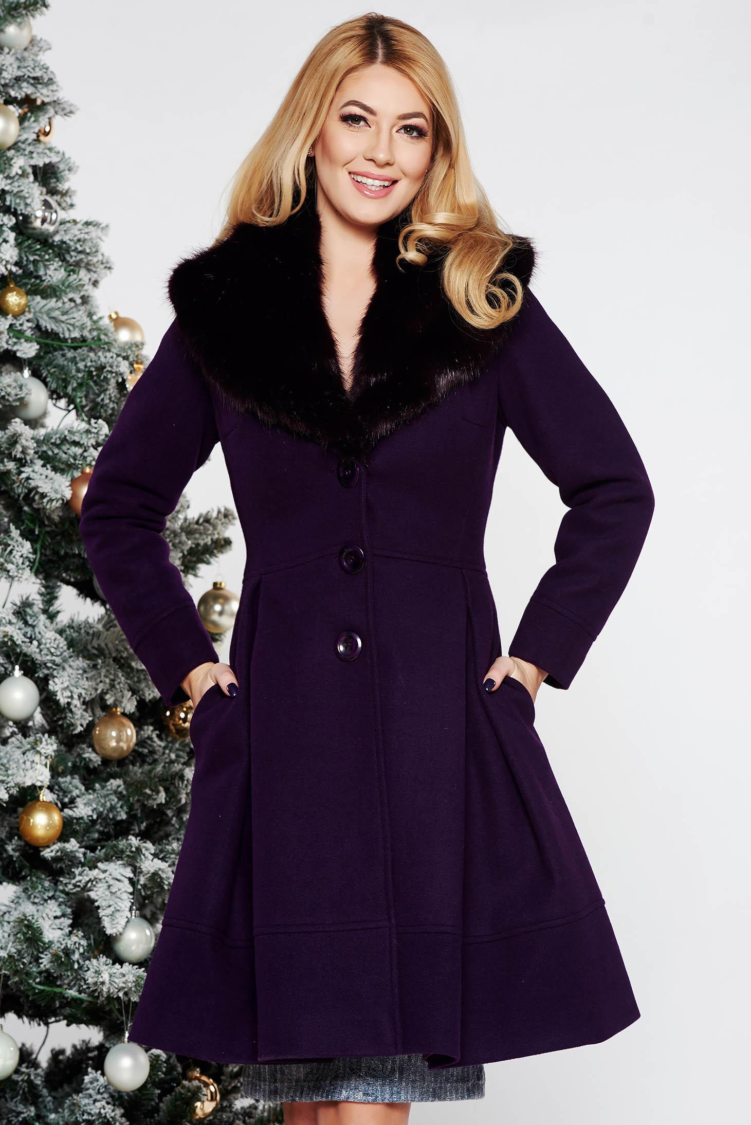 Palton LaDonna mov elegant in clos din lana cu insertii de blana ecologica detasabile