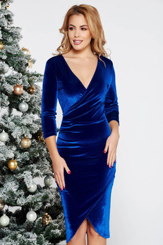 StarShinerS occasional midi wrap around with tented cut from velvet with v-neckline blue dress