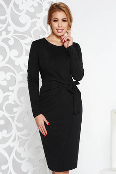 StarShinerS black midi elegant dress knitted fabric with lame thread with tented cut long sleeved