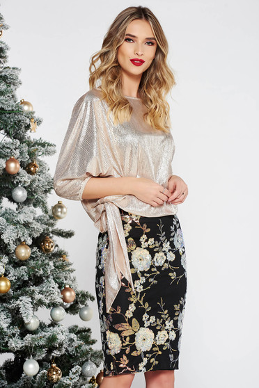 StarShinerS gold occasional set with a skirt with sequins from shiny fabric top