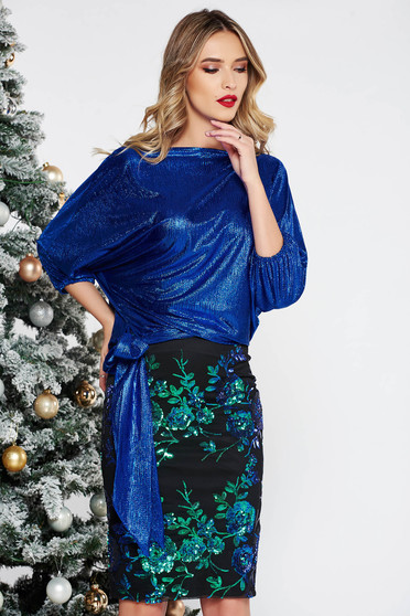 StarShinerS blue occasional set with a skirt with sequins from shiny fabric
