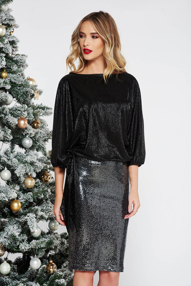 StarShinerS black occasional set with sequins with a skirt with easy cut from shiny fabric