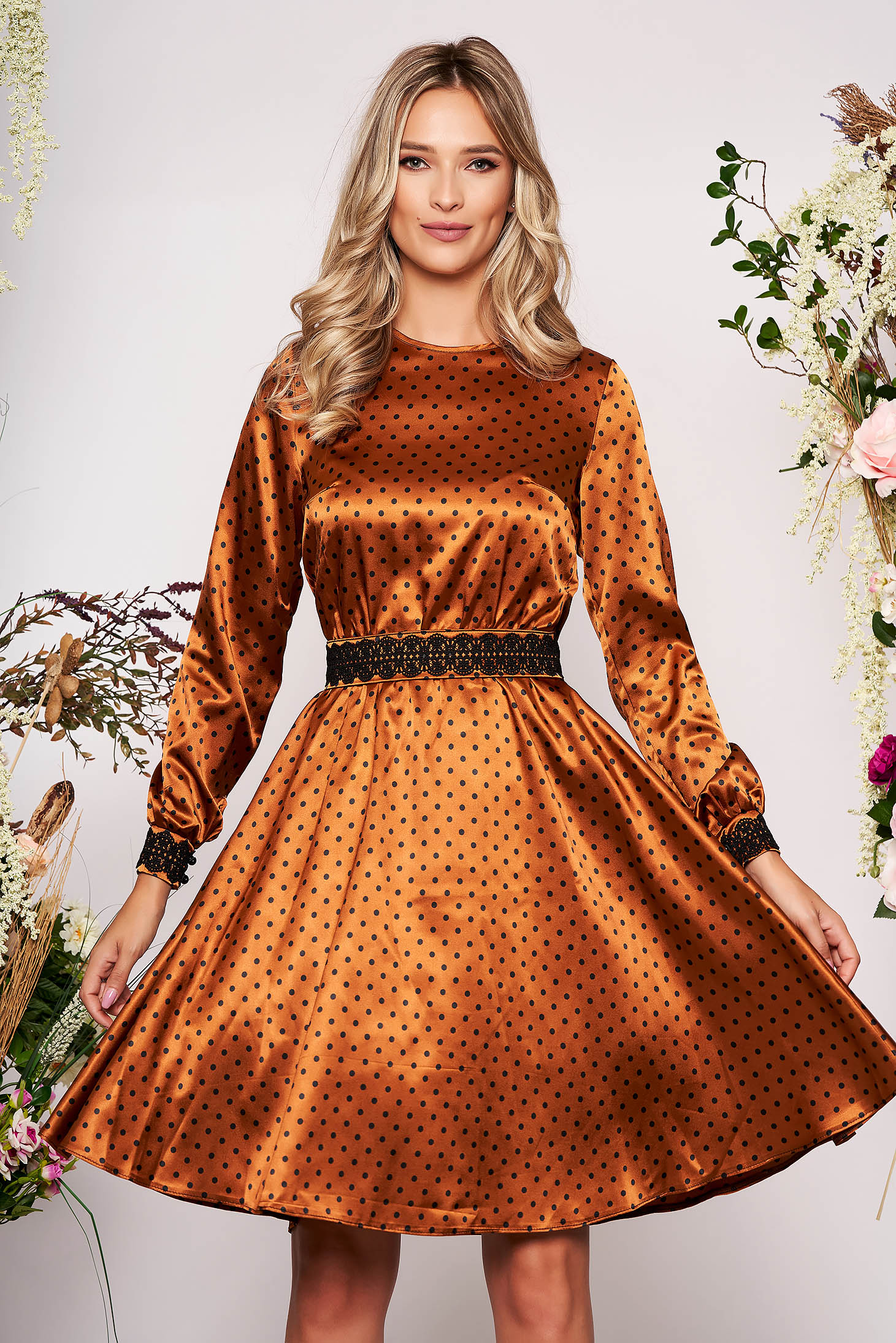 StarShinerS brown elegant cloche dress from satin fabric texture with embroidery details accessorized with tied waistband