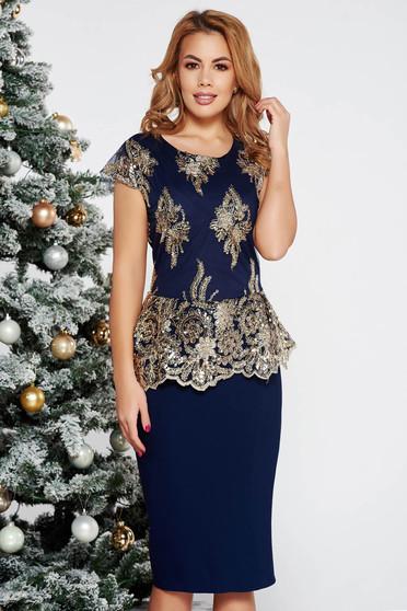 Darkblue occasional pencil dress frilled slightly elastic cotton with sequin embellished details