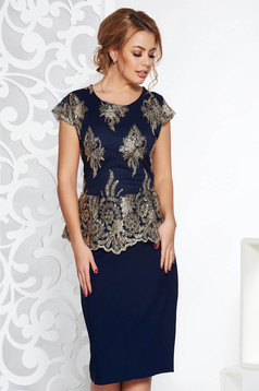 Darkblue occasional pencil dress frilled slightly elastic cotton with sequin embellished details