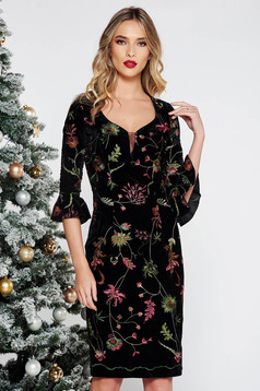Black occasional embroidered dress with tented cut velvet with inside lining with v-neckline