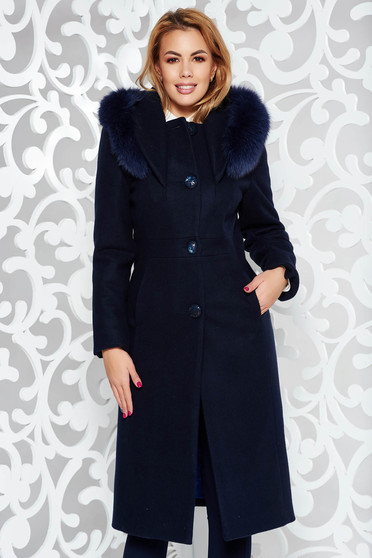 Darkblue elegant wool coat straight with inside lining with pockets fur collar