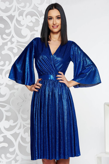StarShinerS blue occasional cloche dress from shiny fabric with inside lining with v-neckline