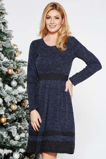Grey daily cloche dress knitted fabric long sleeved from soft fabric