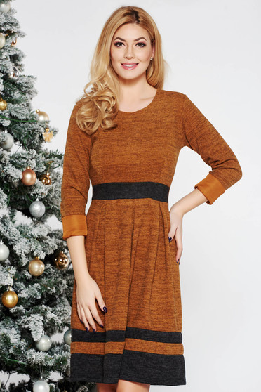 Bricky daily cloche dress knitted fabric long sleeved from soft fabric