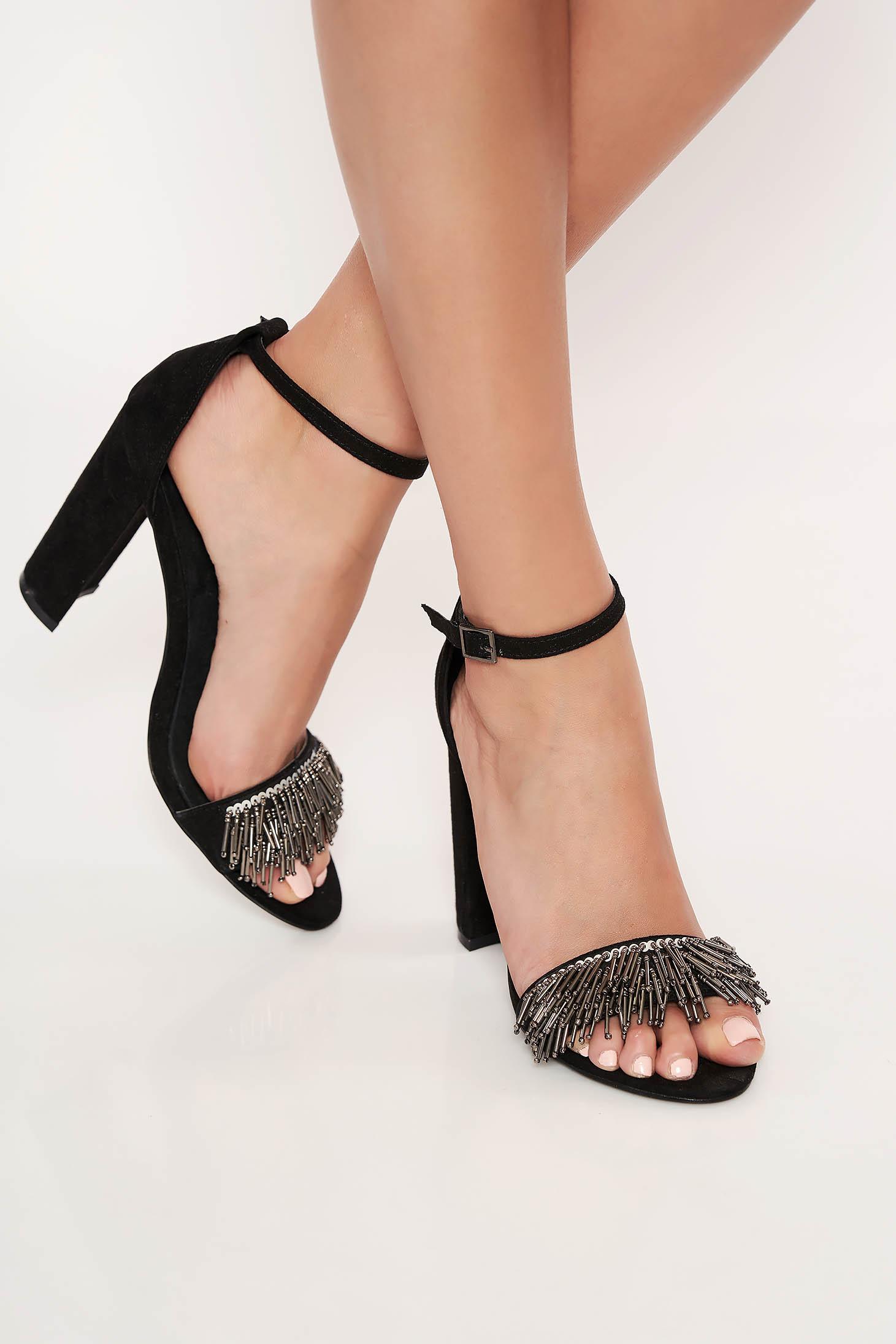 Pantofi Top Secret negru elegant cu bretele ajustabile din material catifelat cu aplicatii cu margele