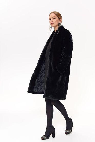 Top Secret black elegant flared coat from ecological fur