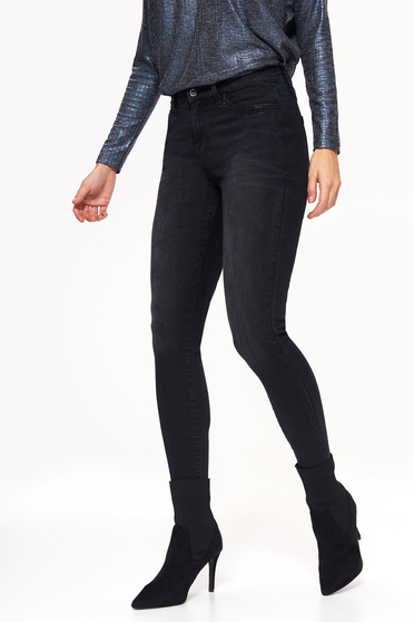 Top Secret black casual trousers with tented cut with medium waist cotton with crystal embellished details