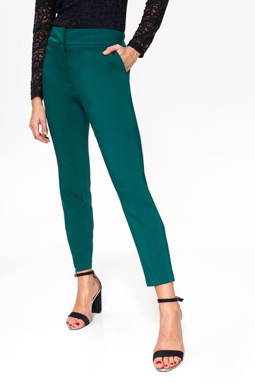 Top Secret darkgreen elegant conical trousers with medium waist cotton